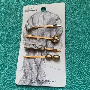 NWT Marble Brass Hair Pins